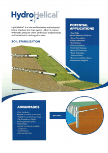 HydroHelical Hydro Helical maintainable seawall drainage and erosion control soil embankment stabilization and dewatering